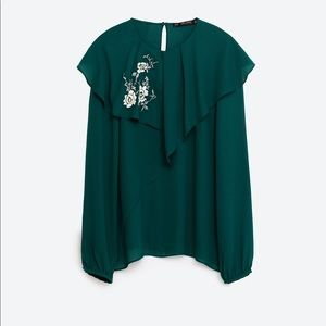 ZARA Green Double Frill Embroidered Blouse
